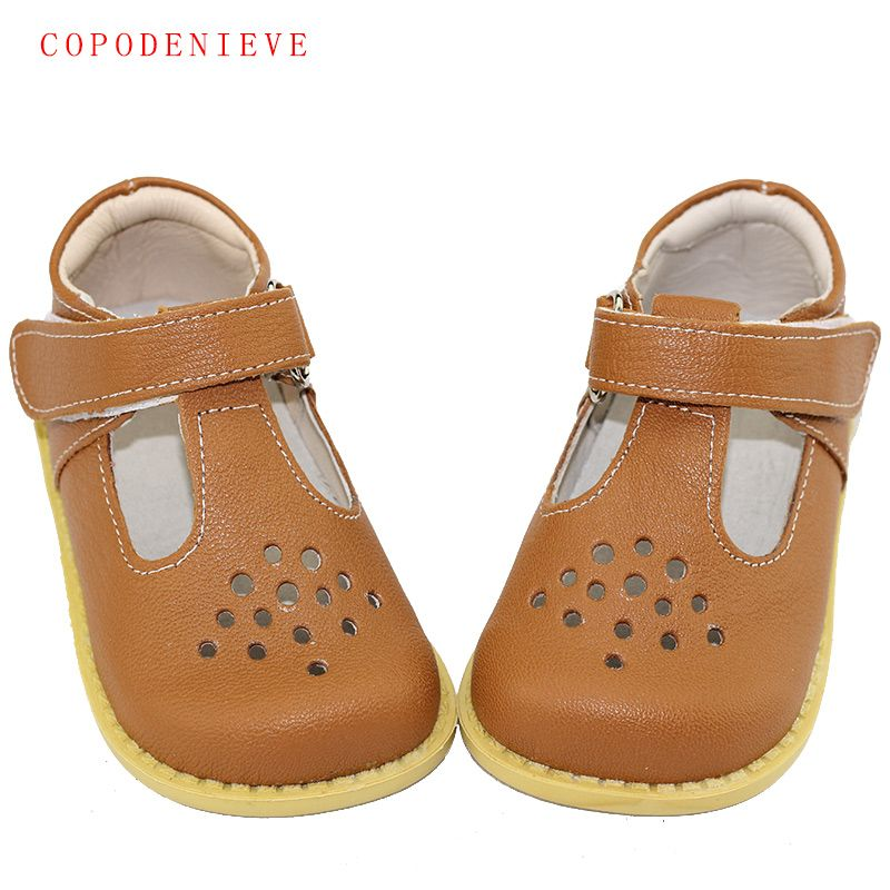 COPODENIEVE Summer Genuine Leather Children Sandals for Girls <font><b>Hollow</b></font> Out Bowtie Kids Sandals Heart-Shaped Girls Princess Shoes