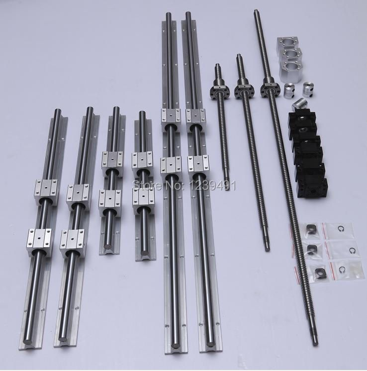 3set SBR16 linear guideway Rail+SFU1605 ball screws RM1605 ballscrew+BK/BF12+nut housing+couplers for CNC router/Milling Machine