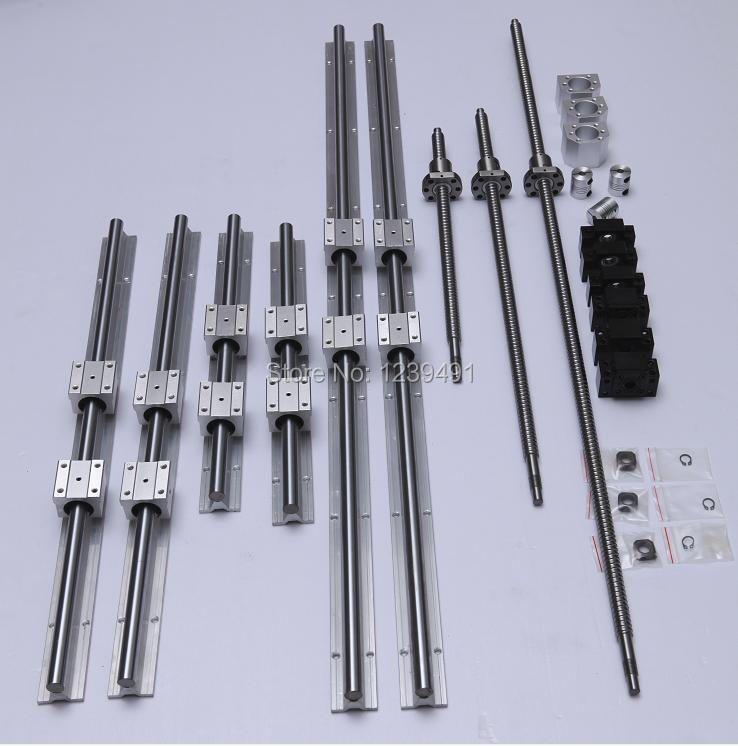 6 sets linear guide rail SBR16 + SFU1605 ballscrew set + BK12/BF12 + Nut housing + Coupler CNC parts