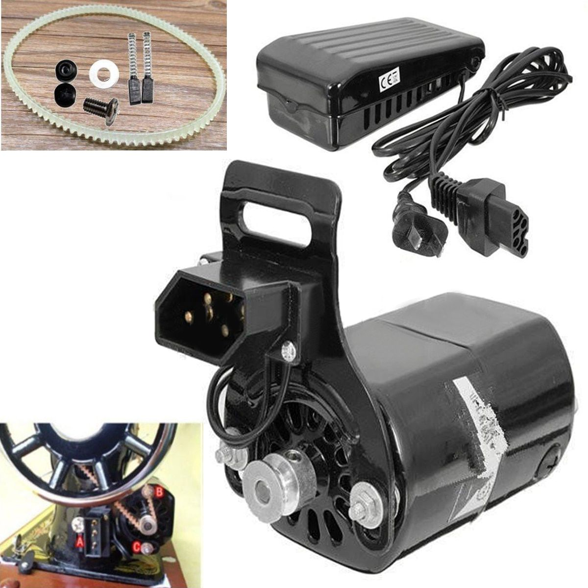 220V 180W 0.9A Black Domestic Household Sewing Machine Electric Motor 5000 rpm + Durable Controller Variable Speed Pedal Mayitr