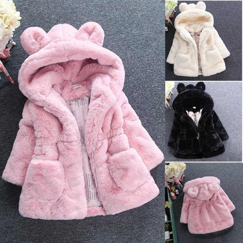 2019 New Winter Baby Girls Clothes Faux Fur Fleece Coat Pageant Warm Jacket Xmas Snowsuit 1-8Y Baby Hooded Jacket Outerwear
