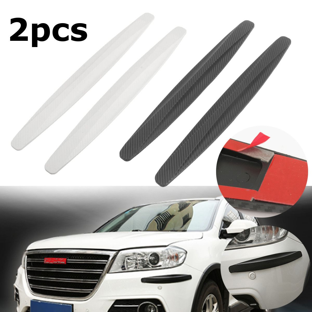 1 Pair Carbon White Black Car Bumper Corner Protector Door Guard Protective Cover Strip Rubbing Trim