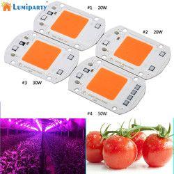 Lumiparty 110 V 220 V COB LED chip Fito lámpara espectro completo 20 W 30 W 50 W LED diodo luces progresivas fitolampy para plántulas de interior K30