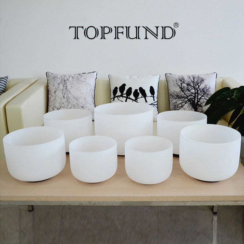 TOPFUND 432Hz Frosted Perfect Pitch Chakra Tuned Set of 7pcs Crystal Singing Bowl 8''-14''