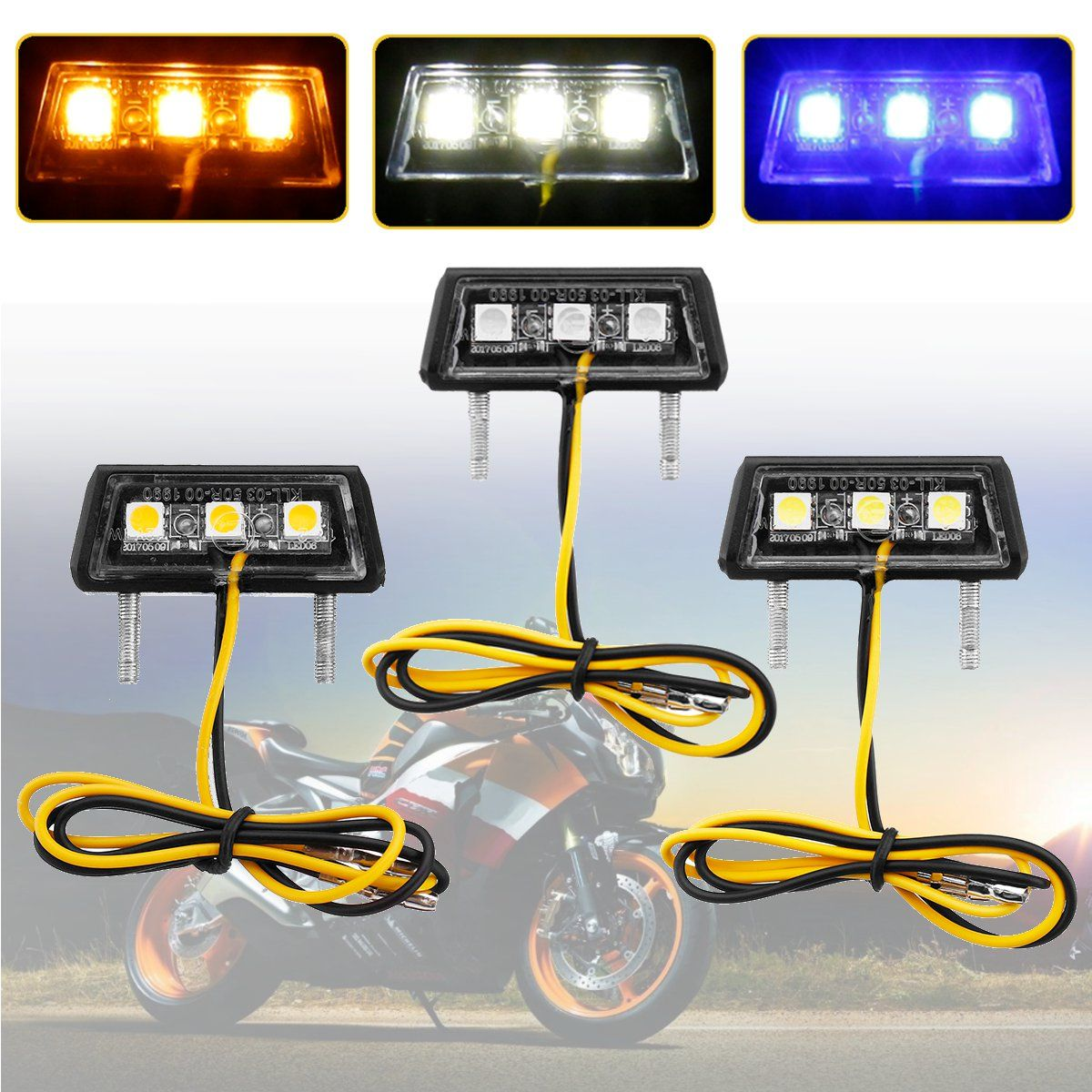 Yellow Blue White Mini Motorcycle Motorbike LED Tail Rear Light License Plate Light For Honda for Kawasaki for Yamaha for Suzuki