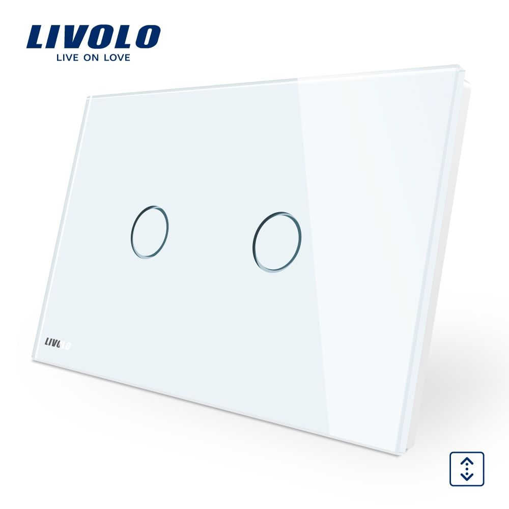 LIVOLO Wall Switch, 110~250V, Ivory White Glass Panel,  AU/US Standard Curtain Touch  Switch VL-C902W-11