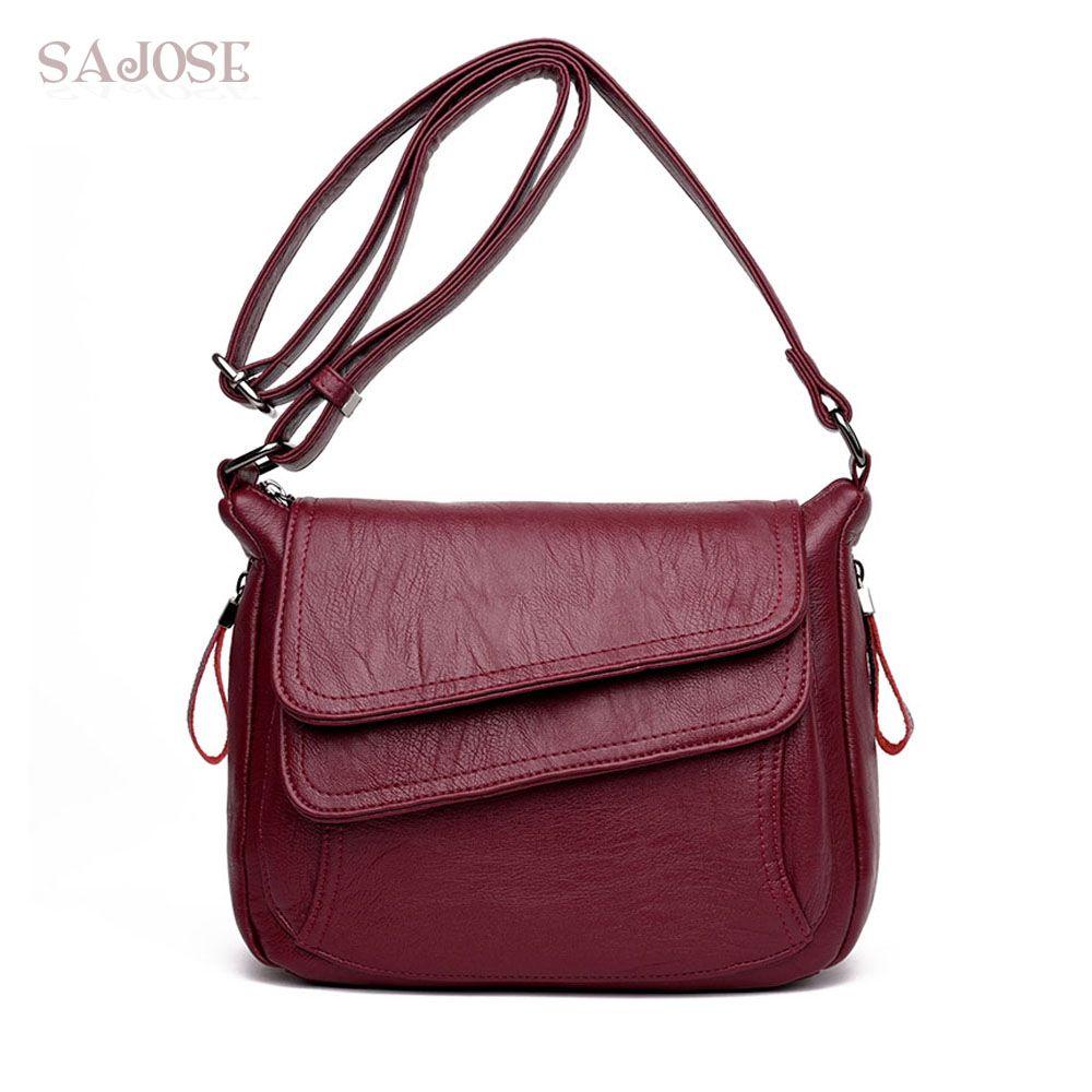 Femmes en cuir de haute qualité Simple Sac à Main rouge Sac à bandoulière Sac à Main Femme de luxe Designer dame Messenger sacs livraison directe