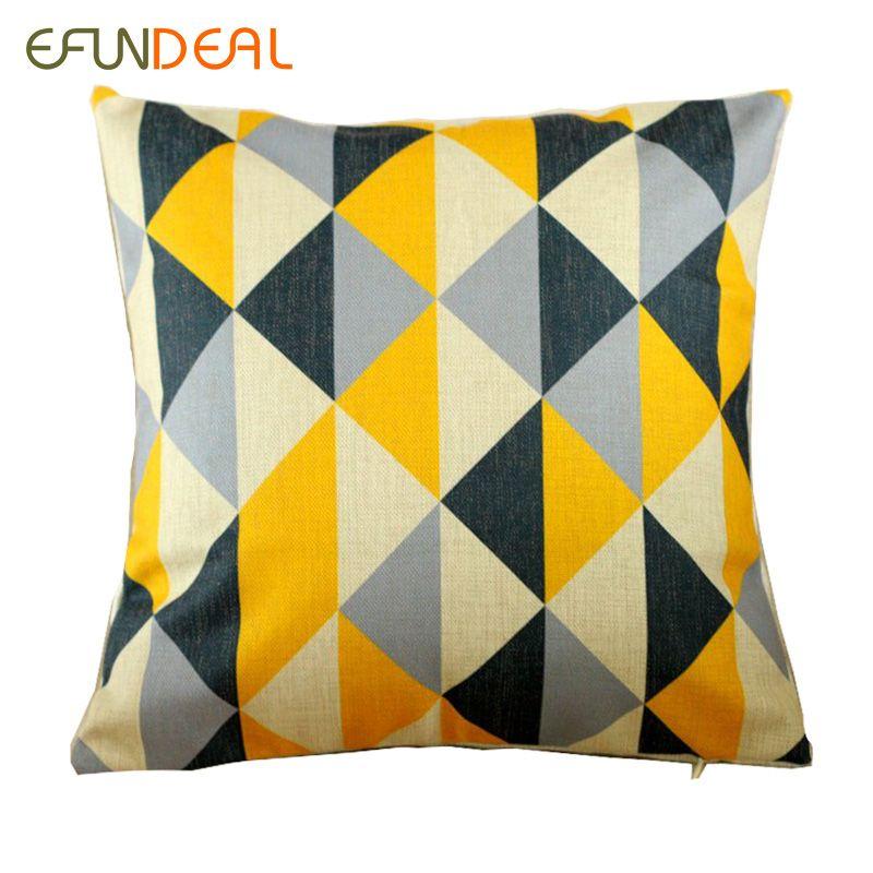 Vintage Baumwolle Leinen Kissenbezug Kopfkissenbezug Gelb Grau Dreieck Geometrische Kissenbezug Home Decor