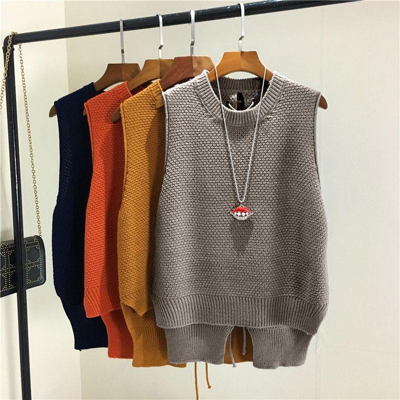 Knitting Chic Backside Cross Strings Split Hems All season matched 2017 Sleeveless O-Neck Pullover Solid Tank Sweater Vest