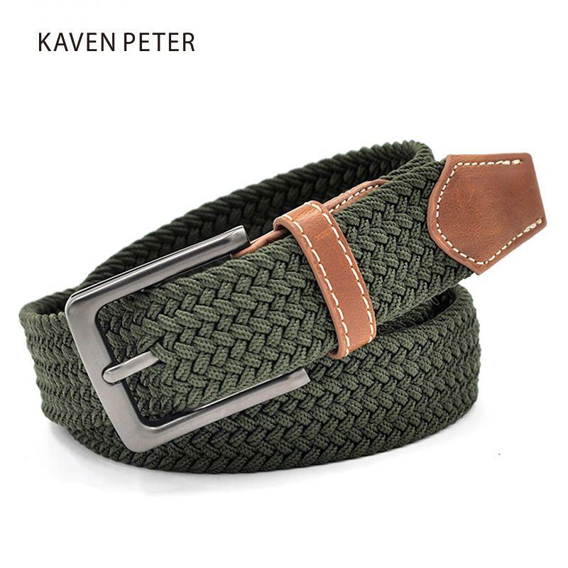 Vert plus longues ceintures élastiques pour hommes tissé tissu tressé confort Stretch ceintures décontractées 1-3/8