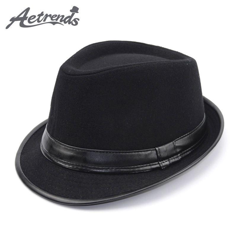 [AETRENDS] angleterre Style Fedora Jazz chapeau hommes Vintage laine feutre hiver chapeau Panama casquette Z-5312
