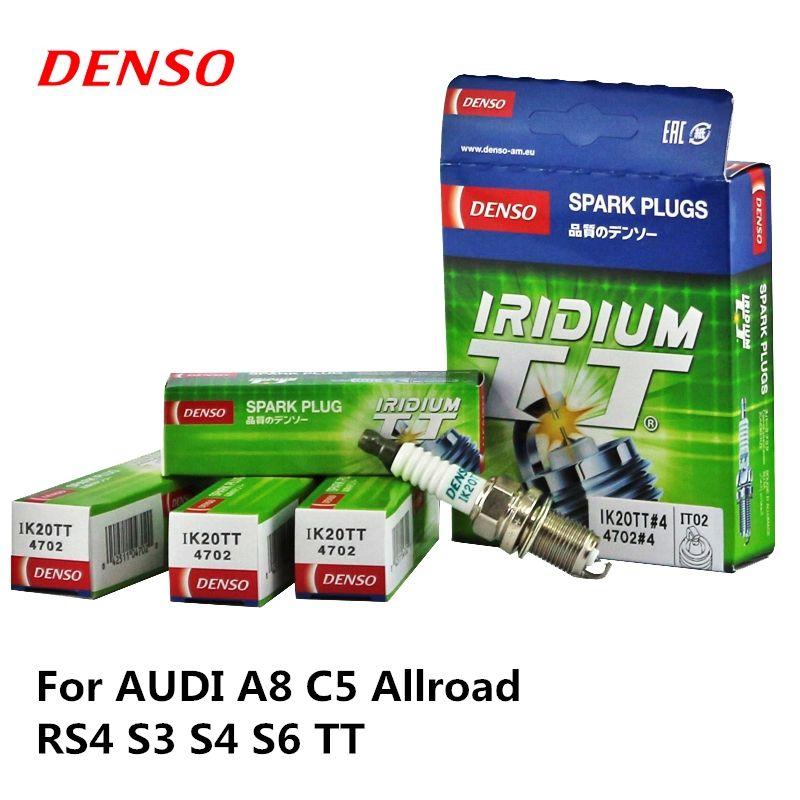 4pieces/set DENSO Car Spark Plug For AUDI A8 C5 Allroad RS4 S3 S4 S6 TT Iridium Platinum IK20TT