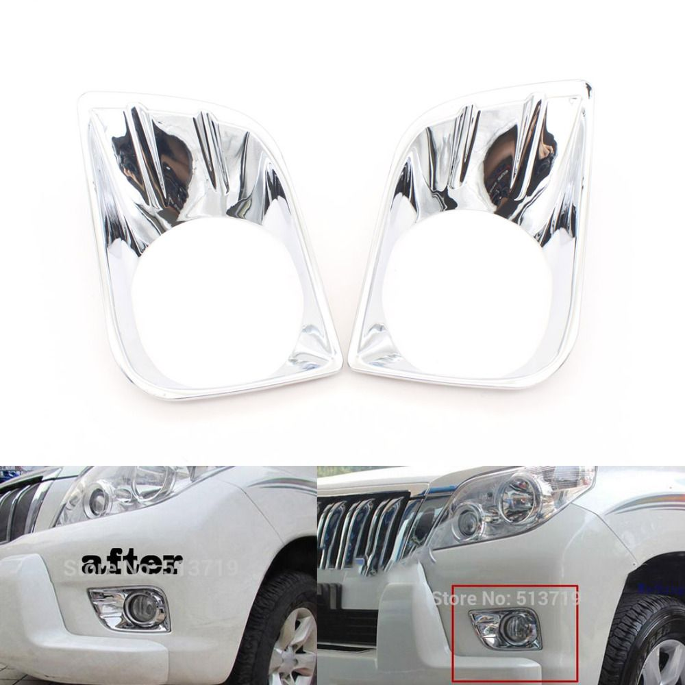 Dongzhen 2PCS Car Front Fog Lamp Cover Head Fog Light Cover Trim fit for Toyota Land Cruiser Prado FJ150 2010-2013 ABS Chrome