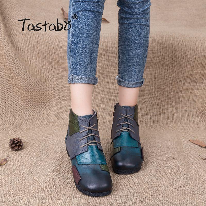 Tastabo 2018 mode bottes faites à la main pour les femmes cheville chaussures Vintage chaussures Style populaire en cuir véritable femmes bottes