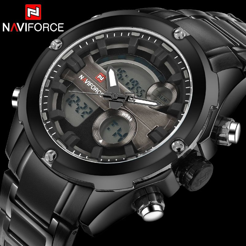 Naviforce Men 30M Waterproof Watch Full Stainless Steel Analog Digital Display LED Watches Mens Military Clock Relogio Masculino