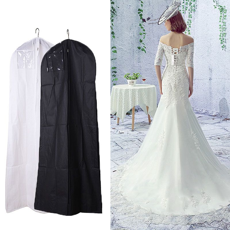 Black White Wedding Dress Cover Bridal Garment Long Clothes Waterproof Dustproof Storage Bag For Protesting Garment Bag