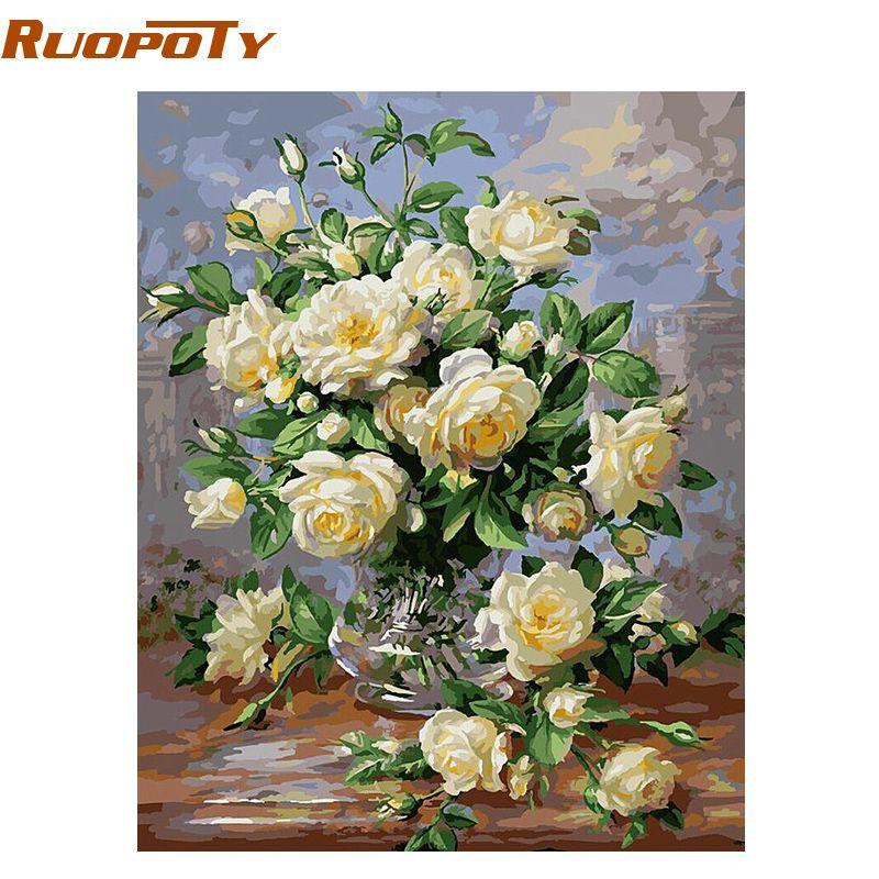 RUOPOTY Europe fleur abstraite peinture à la main par numéros Kits peinture acrylique Vintage peint à la main peinture à l'huile décoration de la maison