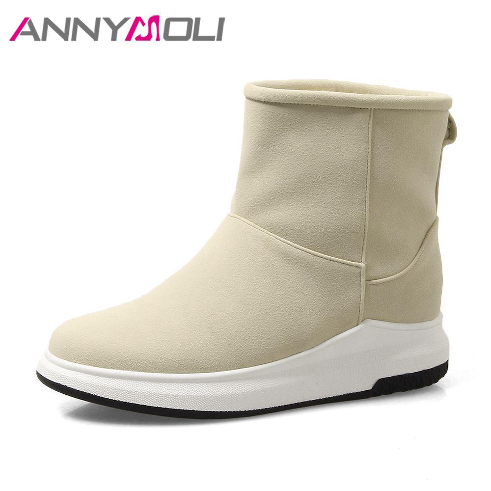 ANNYMOLI Invierno Nieve Botas Mujeres Plataforma Botines de Piel Caliente de la Felpa pisos Botas Cortas Zapatos de Las Señoras 2018 Negro de Gran Tamaño 42 43