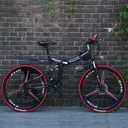 26 дюймов складной горный велосипед 21 Гоночный горный велосипед двойной дисковый тормоз велосипед новый складной горный велосипед подходит...