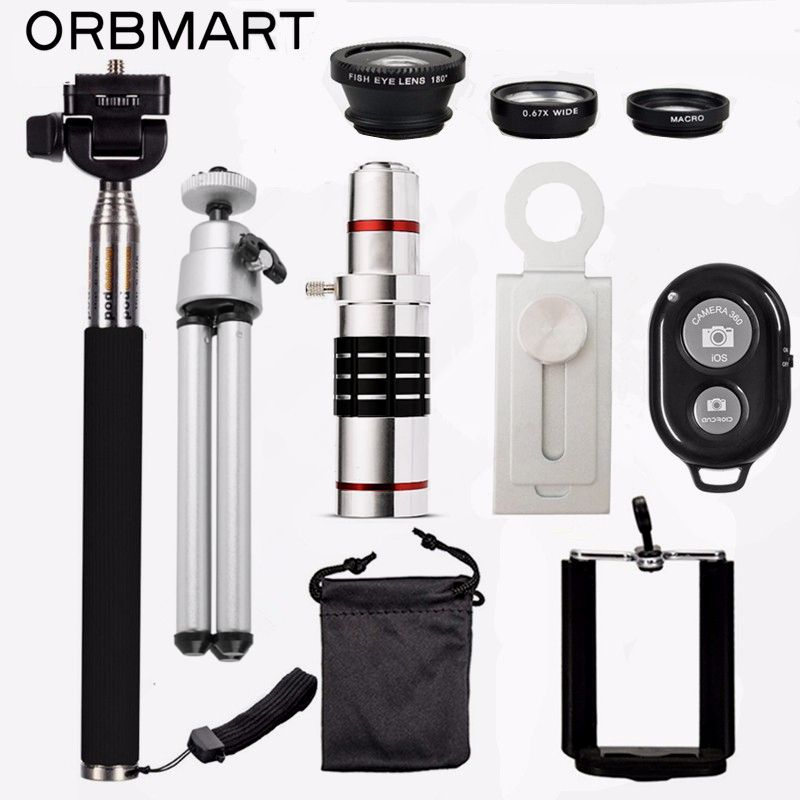 ORBMART 18X Telescope + 3 in 1 Fish Eye Lens + Extendable Handheld Selfie Stick + Bluetooth Shutter Lense Kit For iPhone Samsung