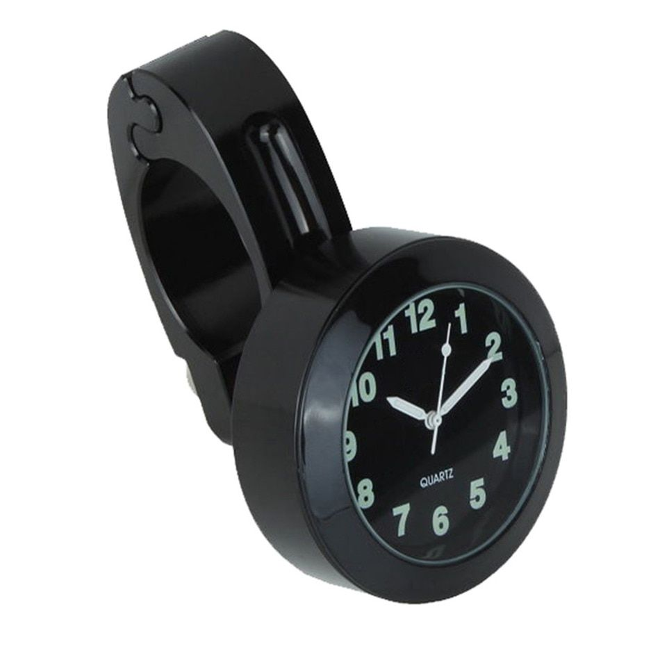 black/silver 2.3cm/0.91'' Universal Waterproof Motorcycle Handlebar Mount Clock Watch Chrome with wrench