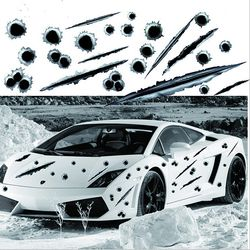 Car Side Stickers 3D Bullet Hole Funny Decals Auto Motorcycle Decoration Sticker Car Styling