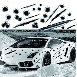 LEEPEE 3D Bullet Hole Car Side Stickers Funny Decals Auto Motorcycle Decoration Sticker Car Styling