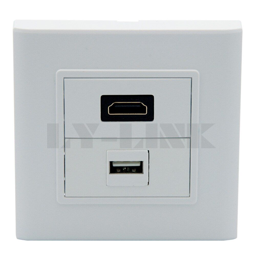 HDMI, USB wall plate with back side female to femlae connector support DIY
