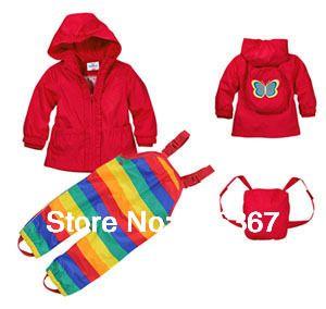 Livraison gratuite-topom * ini veste et pantalon de costume coupe-vent pour bébé fille/enfant en bas âge, costume coupe-vent/imperméable, ensemble de vêtements coupe-vent