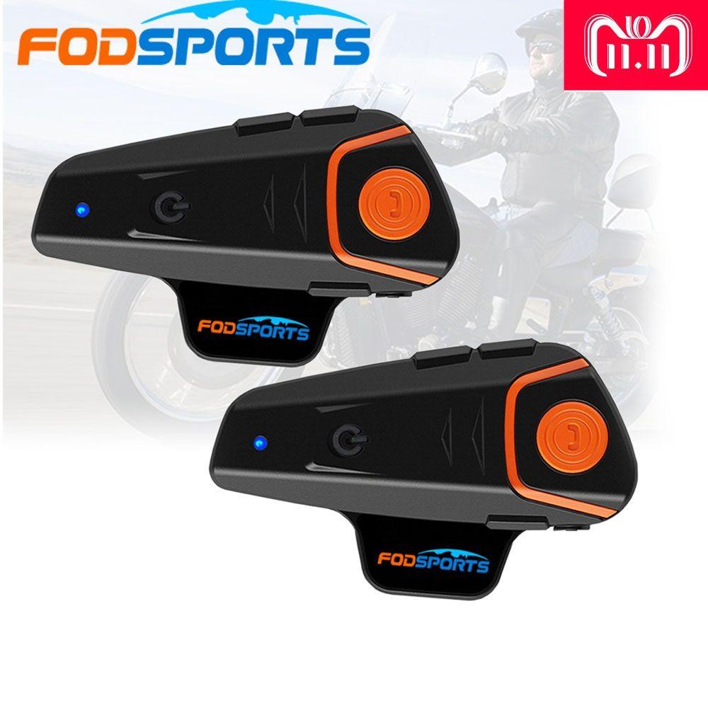 2018 Fodsports 2 pcs BT-S2 Pro motorcycle helmet intercom motorbike wireless bluetooth Headset waterproof BT Interphone with FM