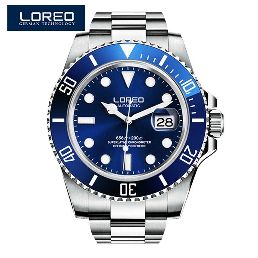 Spitzenverkauf Neue LOREO Marke Luxus Tauchen 200 Mt Mechanische Uhren Casual Rotierende Keramische Lünette Automatik Uhr Männer Geschenk Männlichen uhr