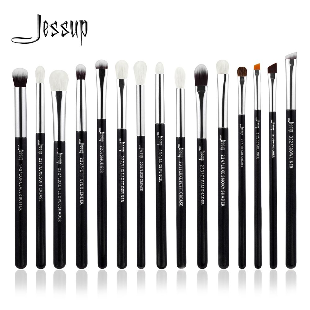 Jessup Brand Black/Silver Professional Makeup Brushes Set Make up Brush Tools kit Eye Liner Shader natural-synthetic hair