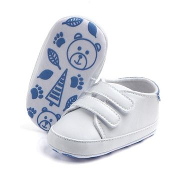 2017 Kids New Soft Soled Sports Sneakers PU Leather Pure White Baby Shoes Classic Casual Newborn Boys Girls First Walkers