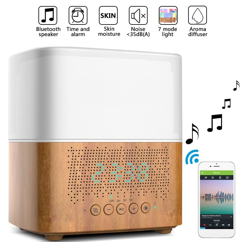 300ml Ultrasonic Aroma Diffusers Air Humidifiers Time Display,Bluetooth Music,LED Night light,Alarm Clock for Home Office