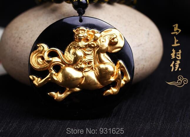 Beautiful Chinese Natural Black Obsidian Carved Gold Color Monkey Horse Lucky Amulet Pendant + free Necklace fashion Jewelry