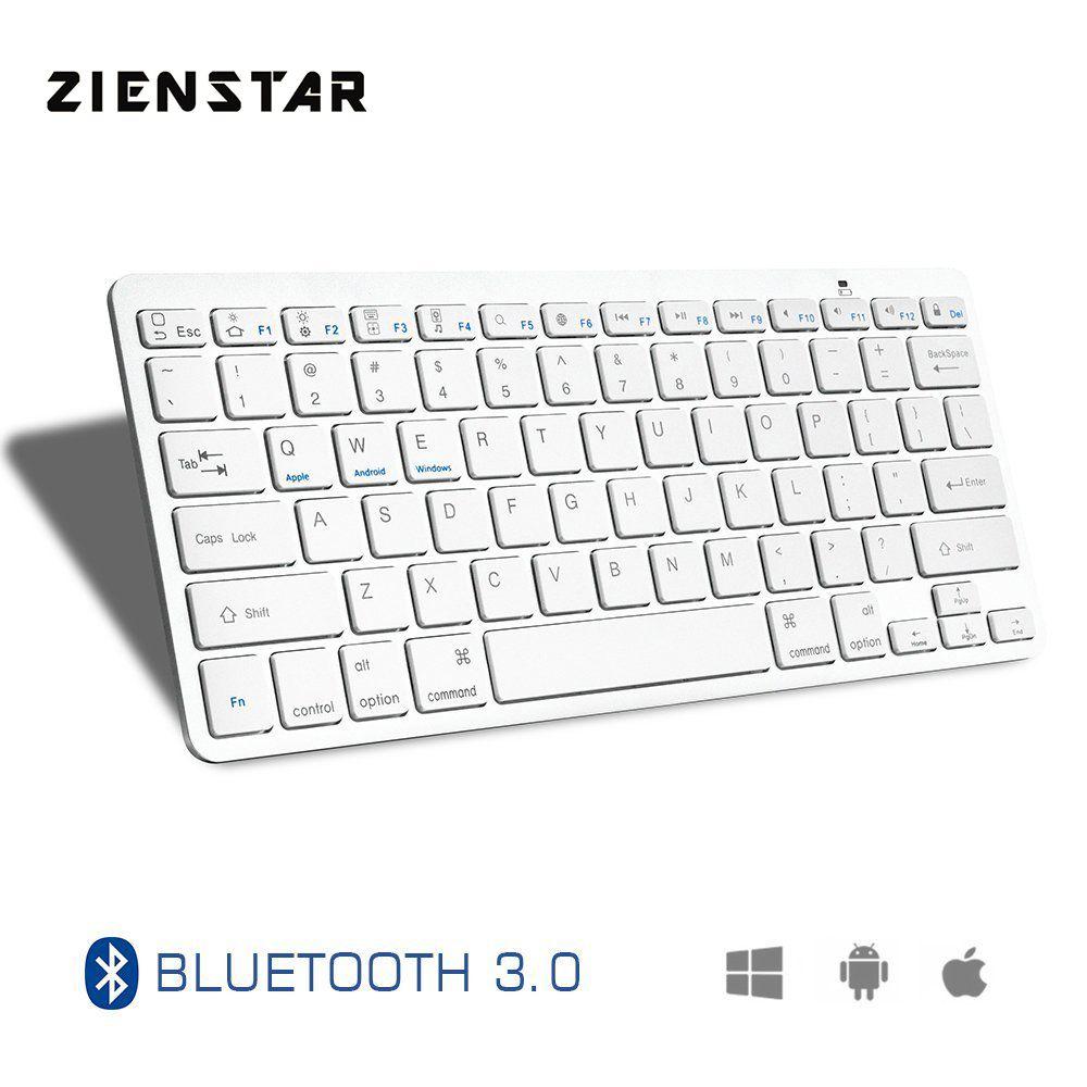 Zienstar Ultra Slim Wireless Bluetooth KEYBOARD for IPAD/Iphone/Mac/LAPTOP /DESKTOP PC/ TABLET,English Letter