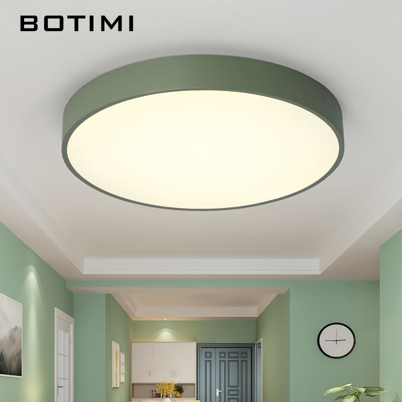 BOTIMI Dimmable LED Ceiling Lights Modern Round Bedroom Lamp with Remote Kitchen Lighting Fixture Ceiling Mounted Room Lamps