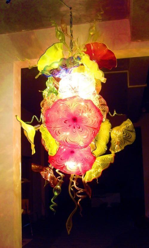 Luxus Große Anhänger und Kronleuchter led-leuchten mit Blume Murano Glas Platten für Hotel