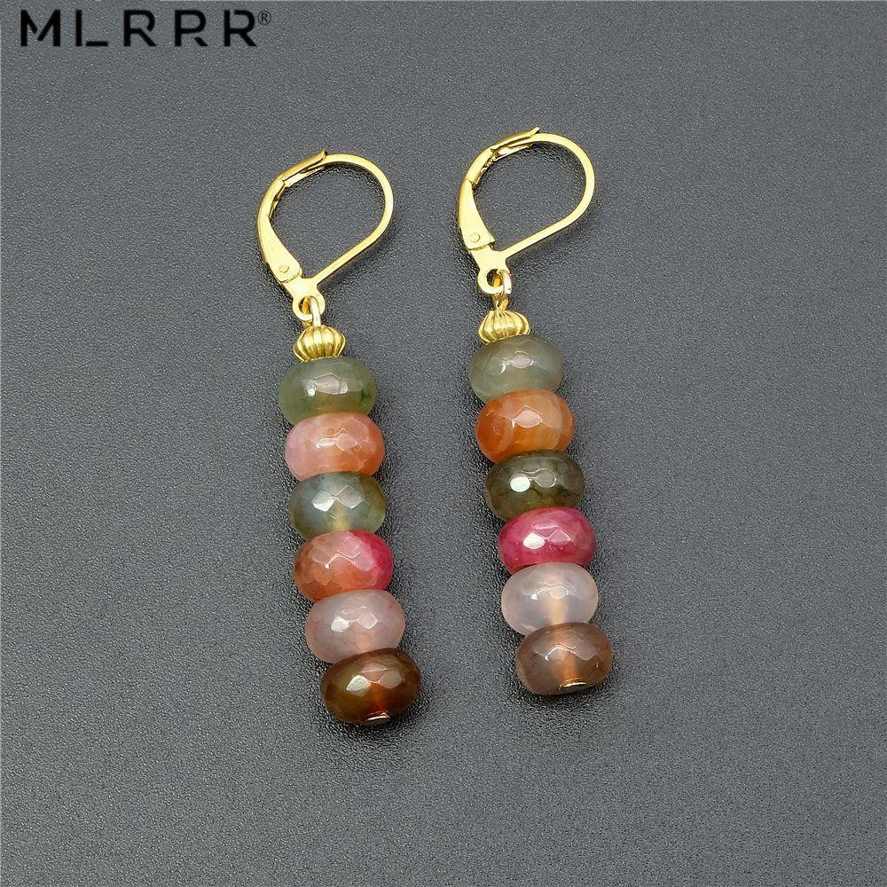 Vintage classique Agates naturelles pierre bijoux Simple mode mignon 5*8mm Tourmalines Agates pendentif boucles d'oreilles pour les femmes