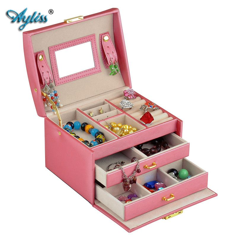 Ayliss Elegant Women Leather Sector Automatic Gift Jewelry Box Display Storage Organizer Carrying Case Boxes Mother's Day Gift