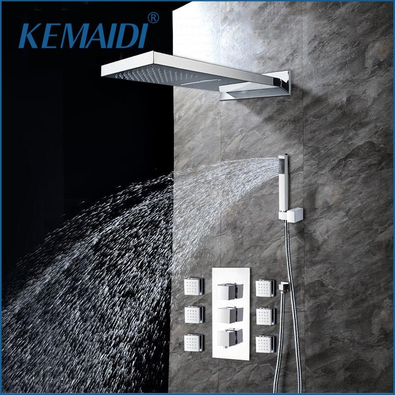 KEMAIDI Modern Rainfall Shower Head Luxury Wall Mounted Square Style Brass Waterfall Shower Set New Bathroom Shower With Handle