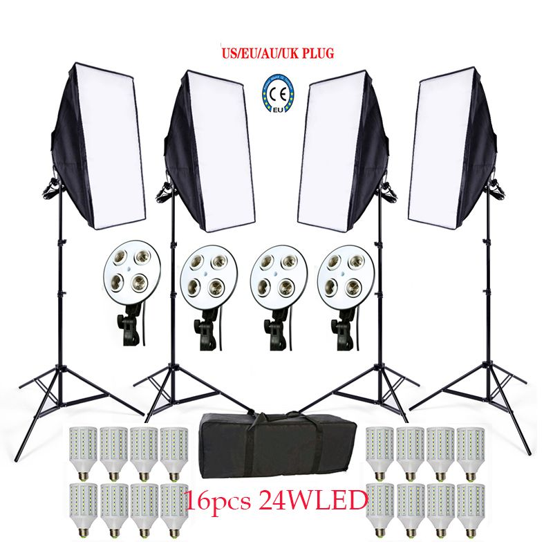 Photo Studio Softbox kit 4 light stand 4 light holder 4 softbox 1pc carrying bag 16PCS 24W E27 LED video lighting kit soft box