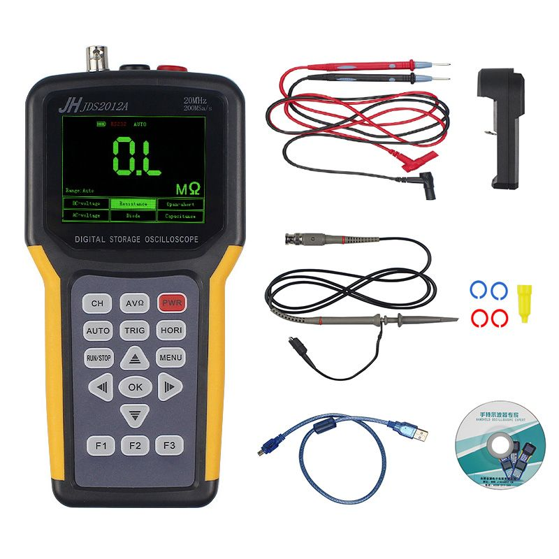 JINHANIC JDS2012A Digital Handheld Oscilloscope 1 Channels 20MHz 200MSa/s Sample Rate Os US Plug