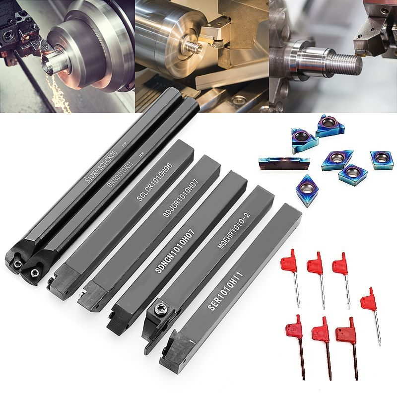 7pcs 10mm Shank Lathe Turning Tool Holder Boring Bar With Blue Nano Carbide Inserts For Lathe Turning Tools