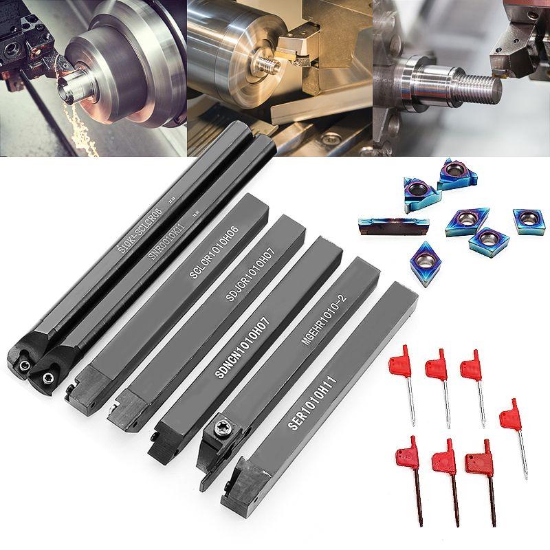7pcs 10mm Shank Lathe Turning Tool Holder Boring Bar With Blue Nano Carbide Inserts For Lathe Turning Tools