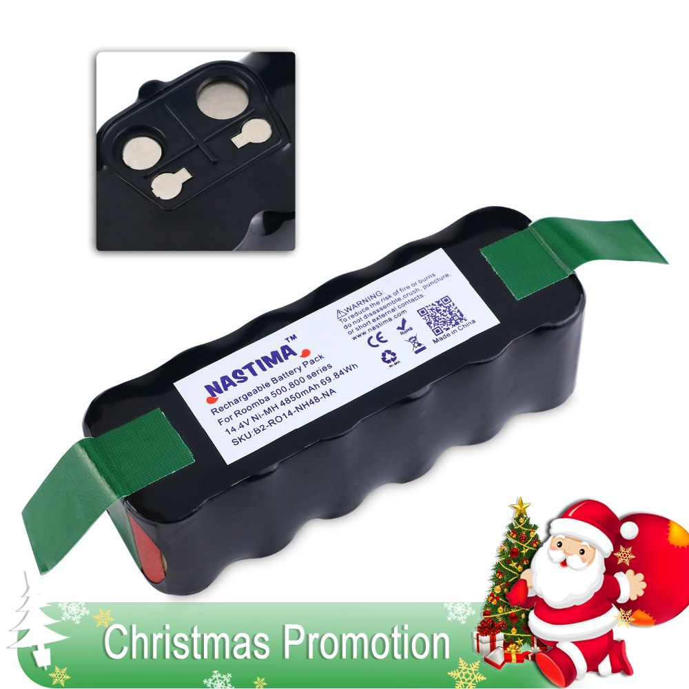 NASTIMA 14.4v 4850mAh Battery For Roomba 500 600 700 800 Series Vacuum <font><b>Cleaner</b></font> Robots 600 620 650 700 770 780 800 [UL&CE listed]