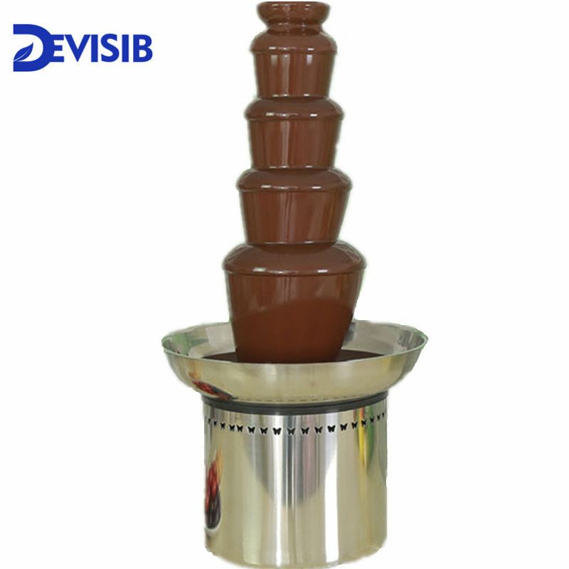 DEVISIB 5 Tier Commercial Chocolate Fountain Fondue with Stainless Steel 304 Material Christmas Wedding Event Party Supplies