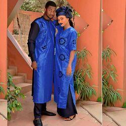 H & D 2018 ropa Africana vestidos tradicionales para parejas para los hombres y las mujeres traje bazin riche bordado Diseño Dashiki robe