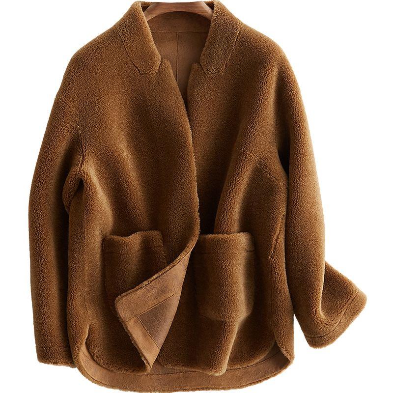 100% wolle Jacke Schafe Lammfell Pelz Winter Mantel Frauen Kleidung 2018 Real Pelzmantel Koreanische Elegante PU Futter Casaco Feminino ZT809