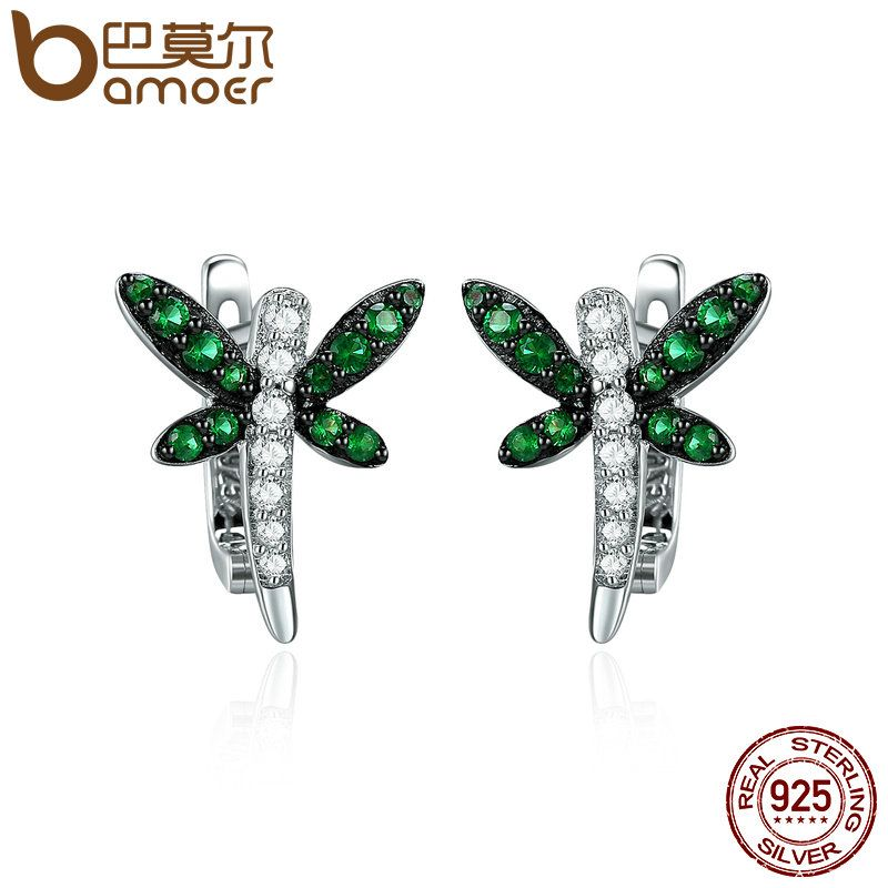 BAMOER Authentic 925 Sterling Silver Dragonfly Whispers Clear CZ Hoop Earrings for Women Sterling Silver Jewelry Brincos SCE186
